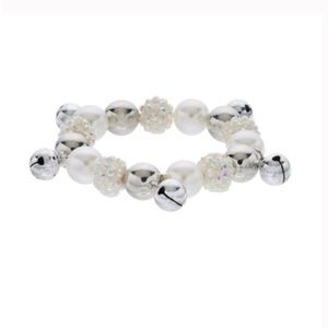 Jewelry - Simulated Pearl & Silver Bell Stretch Bracelet